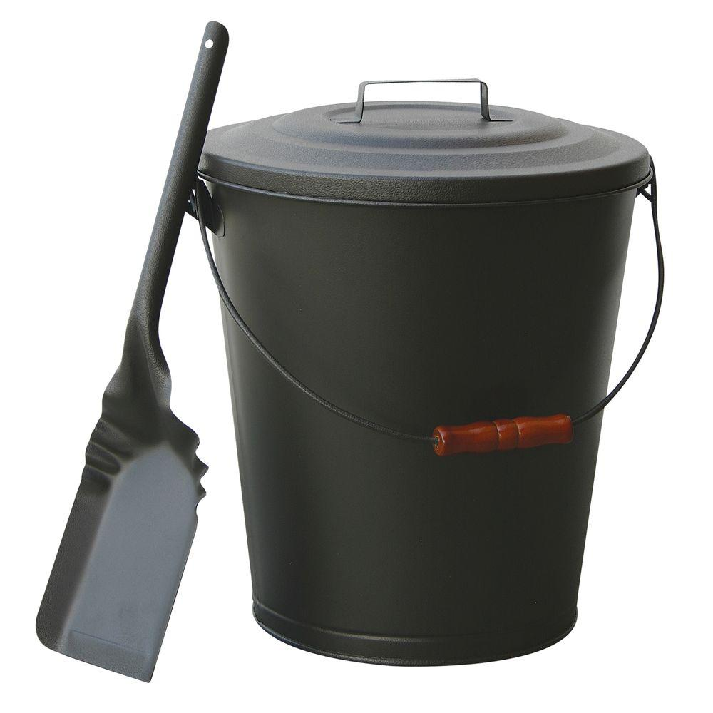 uniflame olde world iron finish ash bin with lid and shovel c