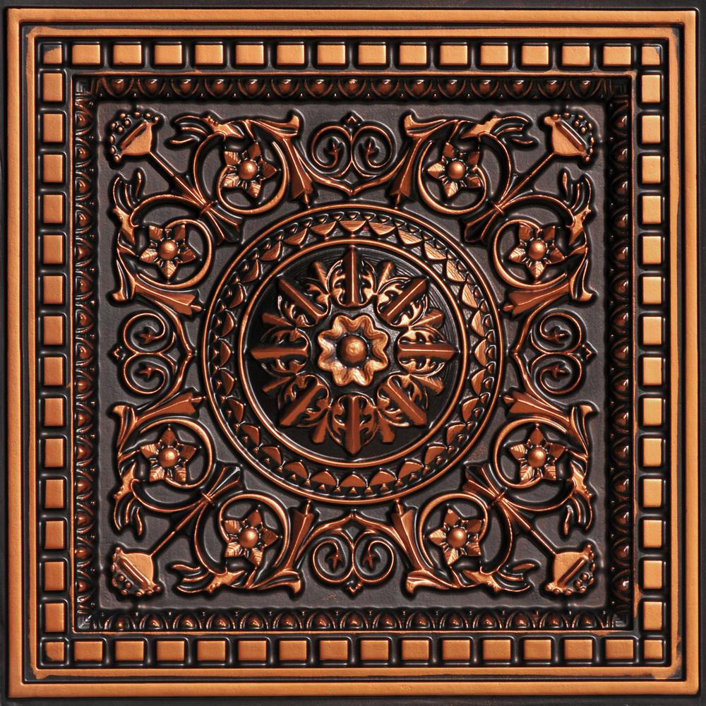 528520acd9f2 From Plain To Beautiful In Hours Da Vinci 2 ft. x 2 ft. PVC Lay-in Ceiling  Tile in Antique Copper