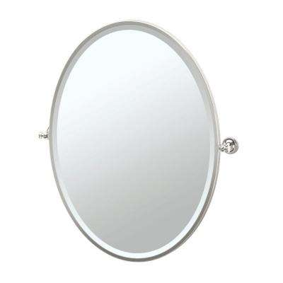 Tavern 29 in. x 33 in. Framed Single Large Oval Mirror in Polished Nickel