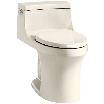 San Souci 1-Piece 1.28 GPF Single Flush Elongated Toilet in Almond, Seat Included