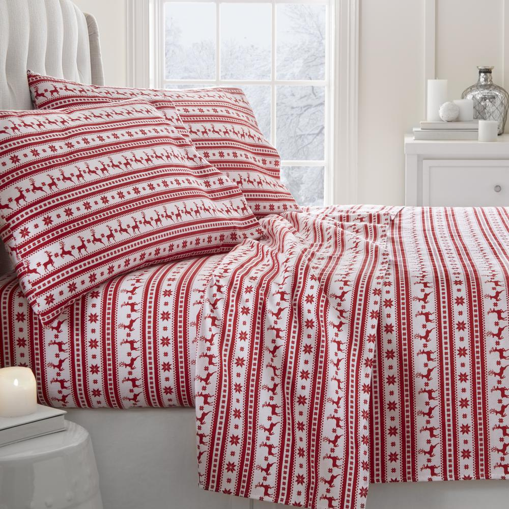 Reindeer Flannel Red California King 4-Piece Bed Sheet Set