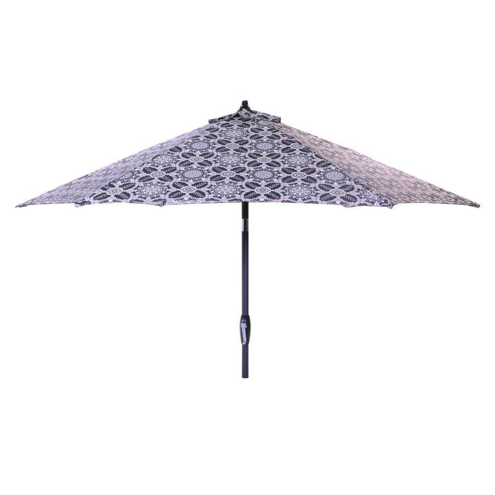 Hampton Bay 9 ft. Aluminum Market Tilt Patio Umbrella in Black Tile