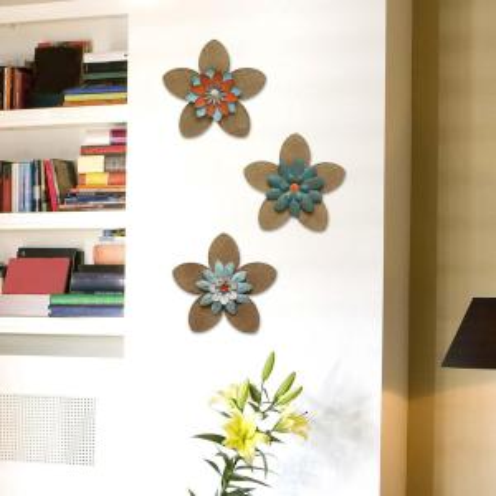 Stratton Home Decor 13 inch x 13 inch Stratton Home Decor Burlap Flower Wall Decor by Stratton Home Decor