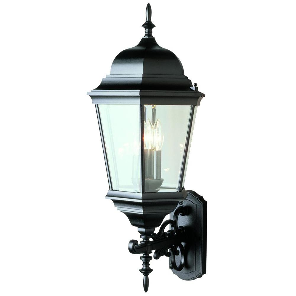 Stewart 3-Light Black Outdoor Incandescent Wall Lantern