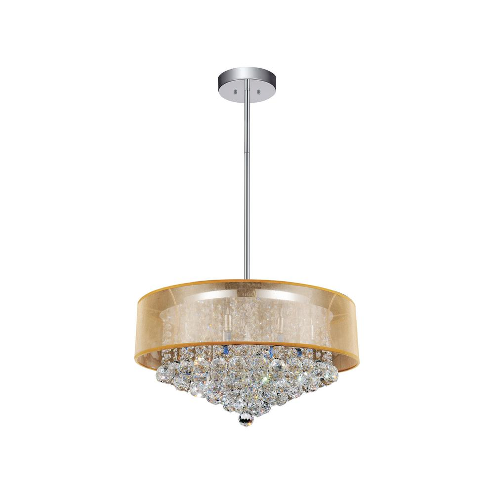 CWI Lighting Radiant 12-Light Chrome Chandelier with Gold shade