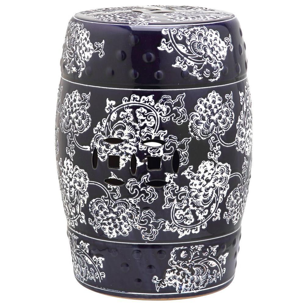 Midnight Flower Navy/White Ceramic Garden Stool