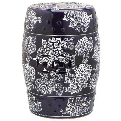 Midnight Flower Navy and White Garden Patio Stool