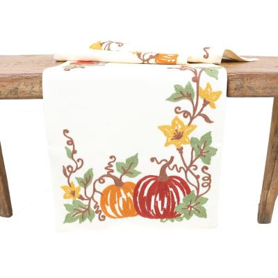 15 in. x 90 in. Happy Fall Pumpkins Crewel Embroidered Table Runner, Cream