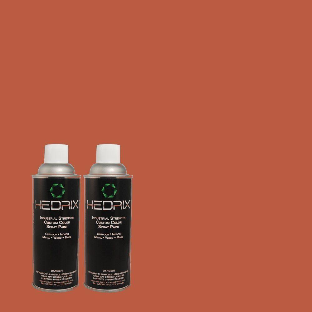 Hedrix 11 oz. Match of PPU2-14 Tibetan Orange Semi-Gloss Custom Spray Paint (2-Pack)