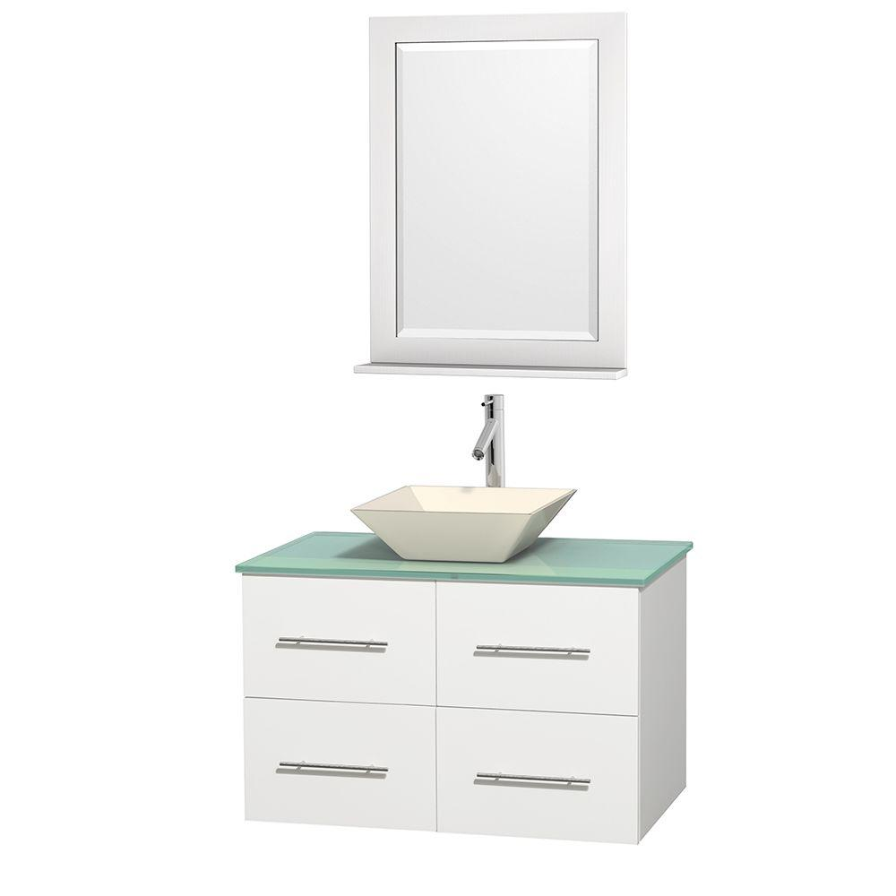 Centra 36 in. Vanity in White with Glass Vanity Top in