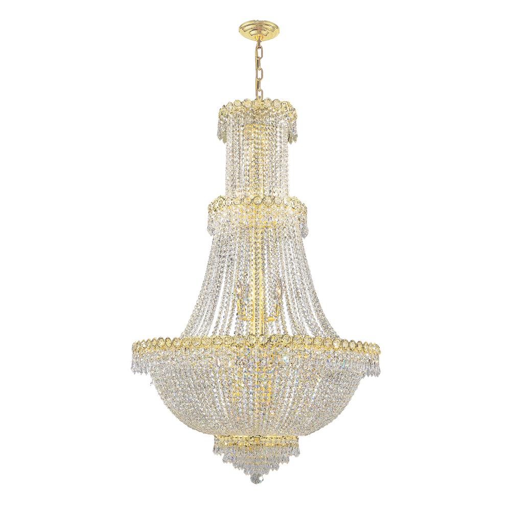 Worldwide Lighting Empire Collection 17-Light Polished Gold and Crystal Chandelier