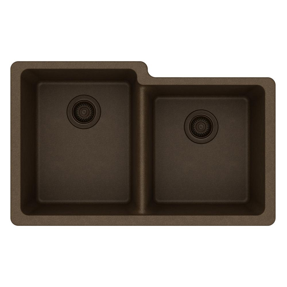 Quartz Classic Undermount Composite 33 in. Double Bowl Kitchen Sink in