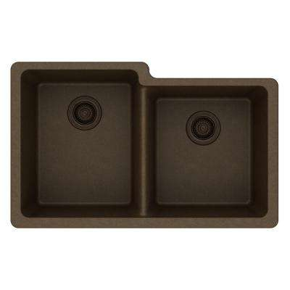 Quartz Classic Undermount Composite 33 in. Square Offset Double Bowl Kitchen Sink in Mocha