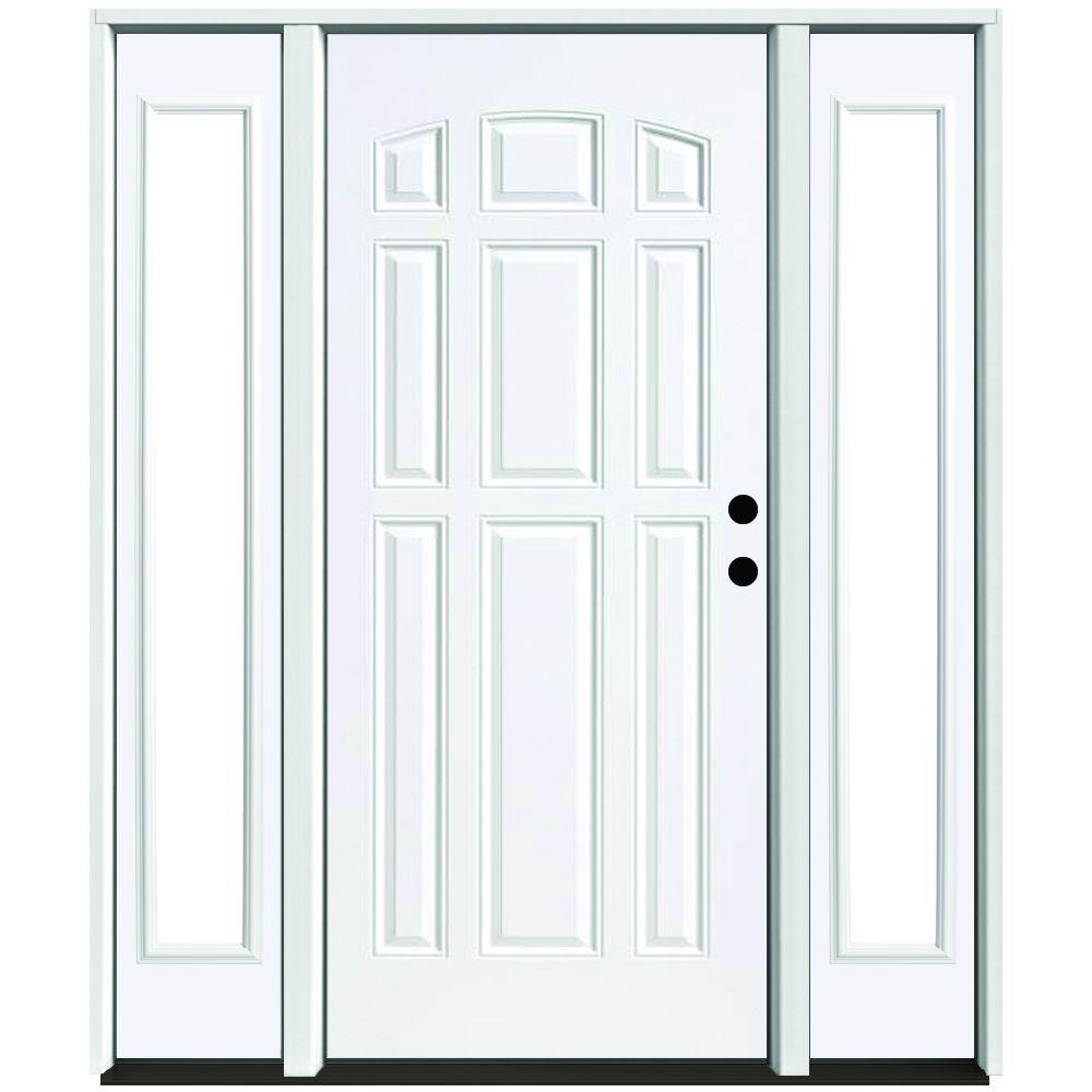 Steves & Sons 64 in. x 80 in. 9-Panel Primed White Left-Hand Steel Prehung Front Door with 12 in. Clear Glass Sidelites 4 in. Wall