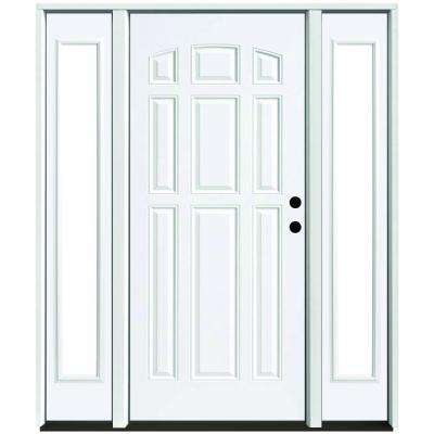 68 in. x 80 in. 9-Panel Primed White Left-Hand Steel Prehung Front Door with 14 in. Clear Glass Sidelites 4 in. Wall