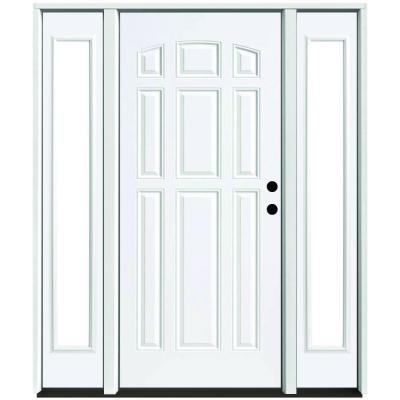 64 in. x 80 in. 9-Panel Primed White Left-Hand Steel Prehung Front Door with 12 in. Clear Glass Sidelites 4 in. Wall