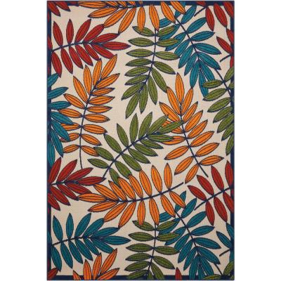 Aloha Multicolor 10 ft. x 13 ft. Floral Contemporary Indoor/Outdoor Area Rug