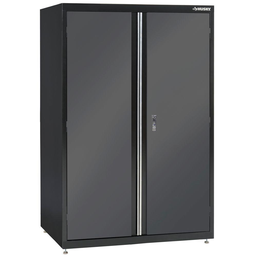 husky 72 in h x 46 in w x 24 in d welded steel floor cabinet in black gray kf3f462472 h9. Black Bedroom Furniture Sets. Home Design Ideas