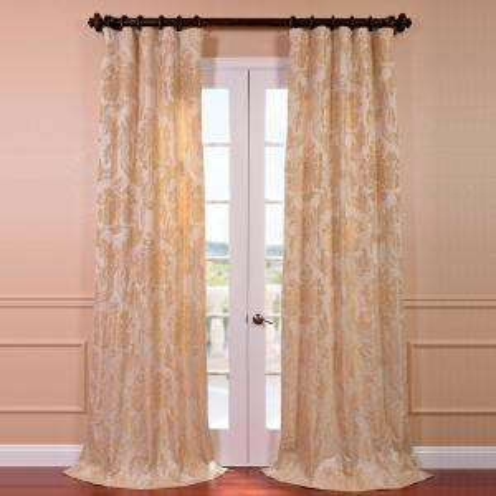 Exclusive Fabrics & Furnishings Magdelena Champagne Faux Silk Jacquard Curtain Panel - 50 inch W x 84 inch L by Exclusive Fabrics & Furnishings