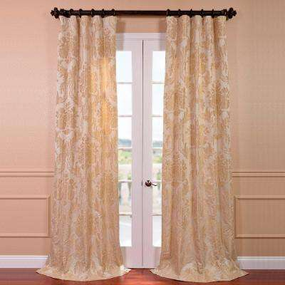 Magdelena Champagne Faux Silk Jacquard Curtain Panel - 50 in. W x 120 in. L