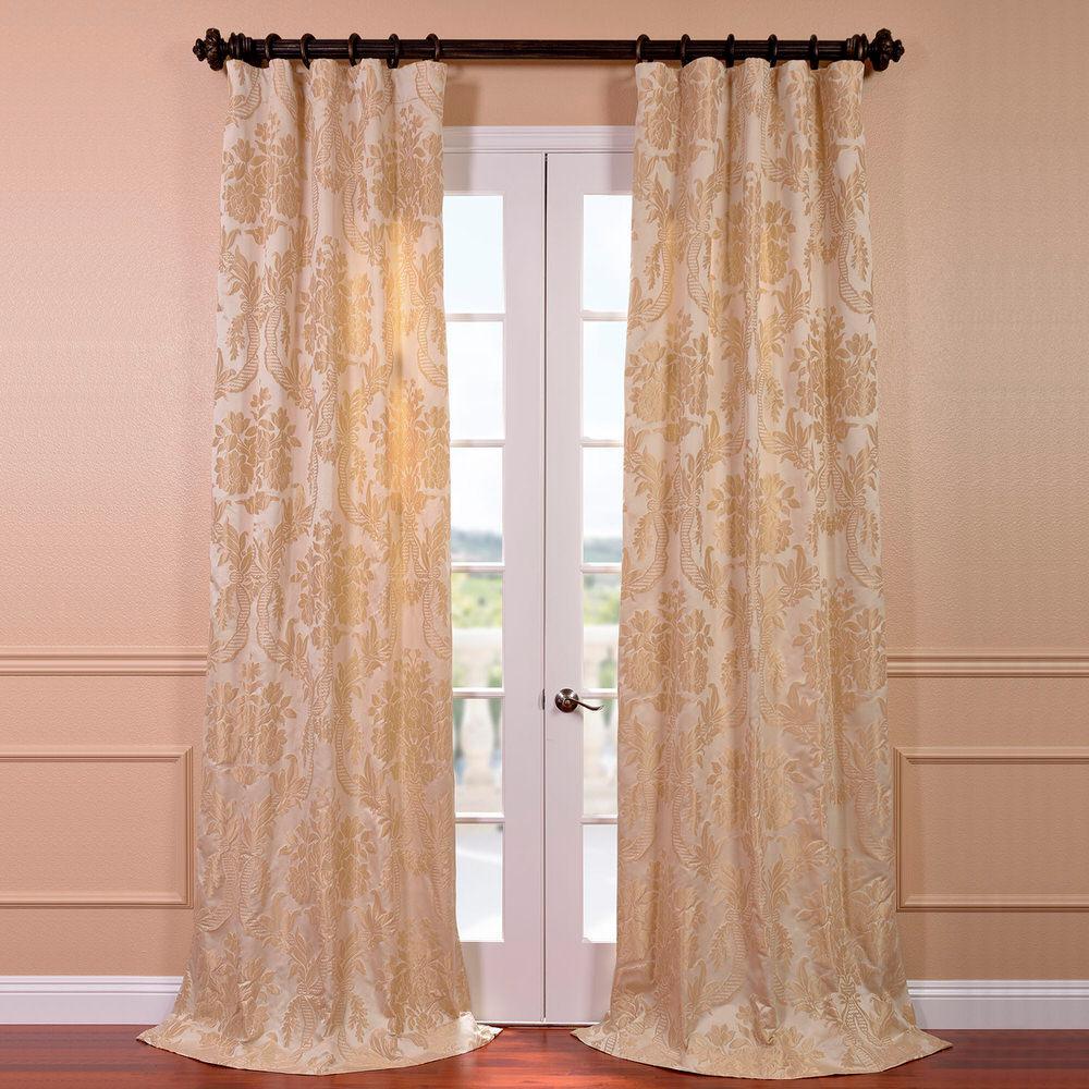 Magdelena Champagne Faux Silk Jacquard Curtain Panel 50 In W X 96 L