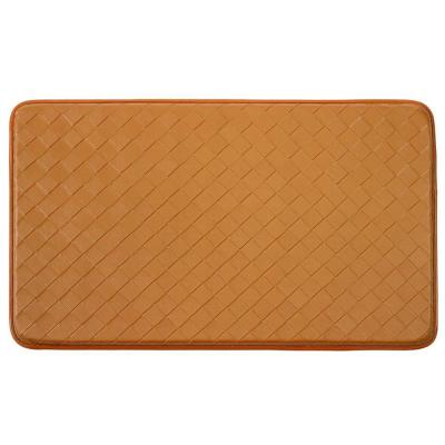 Diamond Weave 18 in. x 30 in. Faux Leather Anti Fatigue Gelness Kitchen Mat