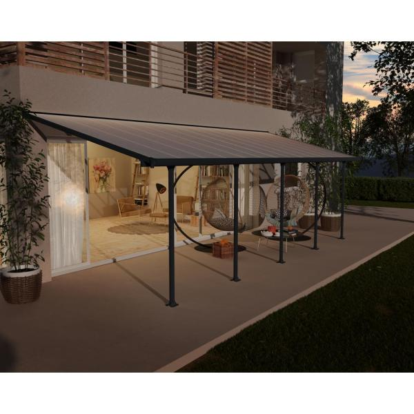 Palram Feria 10 Ft X 28 Ft Grey Patio Cover Awning 702741 The Home Depot
