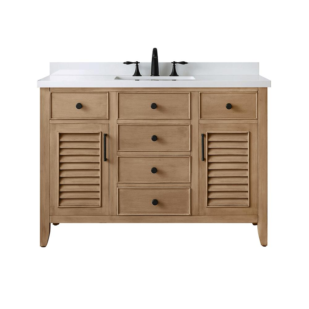 Home Decorators Collection Cotherstone 48 in. W x 22 in. D Bath Vanity in Almond Toffee with Cultured Stone Vanity Top in White with White Basin