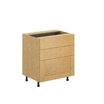 Ready to Assemble 30x34.5x24.5 in. Milano 3-Drawer Base Cabinet in Maple Melamine and Door in Clear Varnish