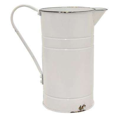 13 in. Metal Pitcher Finished in White