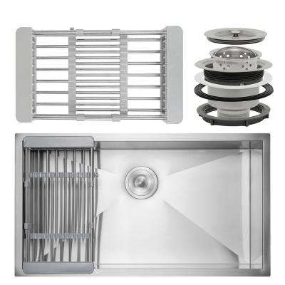 Handcrafted All-in-One Undermount Stainless Steel 33 in. Single Bowl Kitchen Sink with Tray and Drain