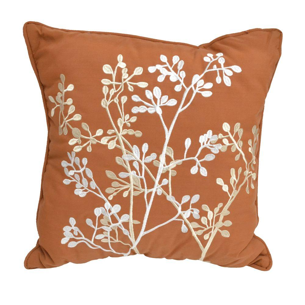 Hampton Bay Nutmeg Branches Outdoor Throw Pillow (2-Pack)