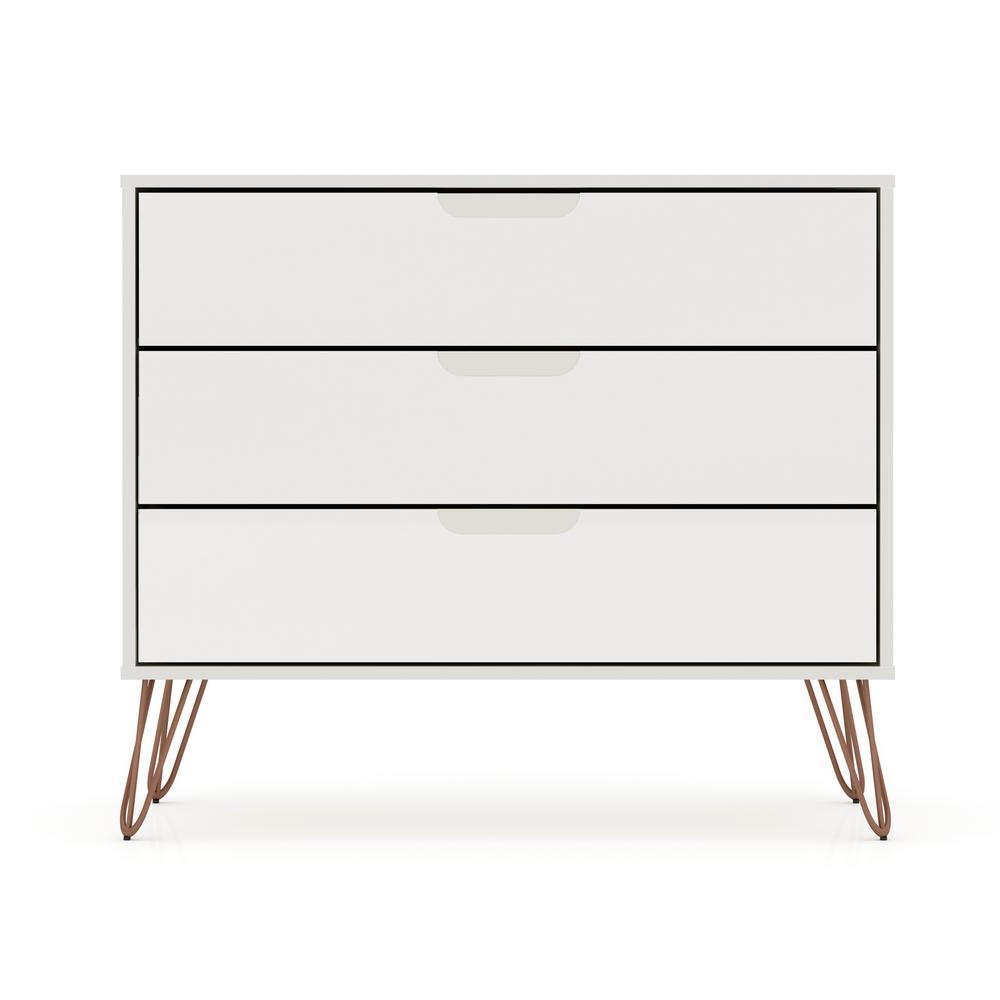Luxor 3-Drawer Off White Mid-Century Modern Dresser 103HD4