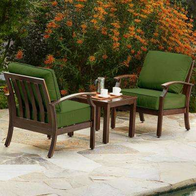 Bridgeport 3-Piece Metal Patio Conversation Set with Green Cushions