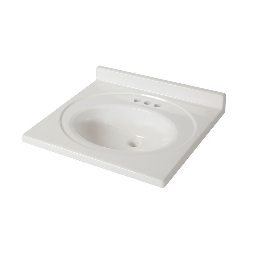 25 In. X 22 In. AB Engineered Technology Vanity Top In White