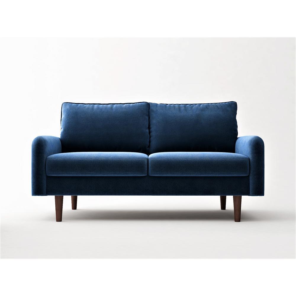 Vivo Space Blue Velvet 2 Seater Loveseat European Style