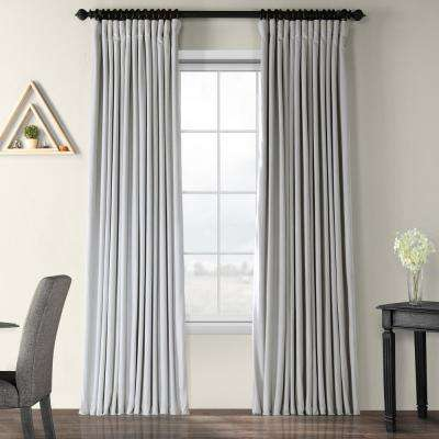 Blackout 100 in. W x 84 in. L Signature Reflection Grey Doublewide Blackout Velvet Curtain (1 Panel)