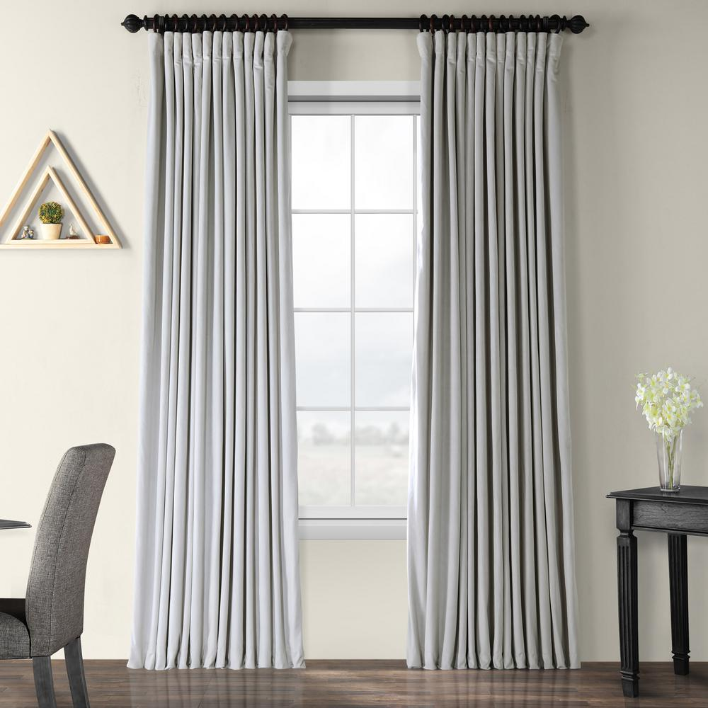 Exclusive Fabrics & Furnishings Blackout Signature Reflection Grey Doublewide Blackout Velvet Curtain - 100 in. W x 96 in. L (1 Panel)