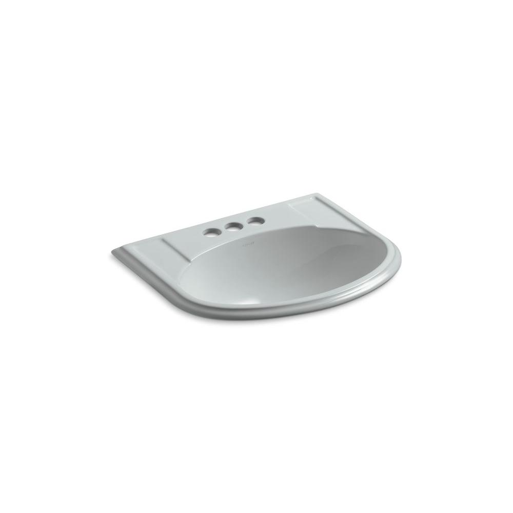 KOHLER Devonshire Drop-In Vitreous China Bathroom Sink in Ice Gray with Overflow Drain