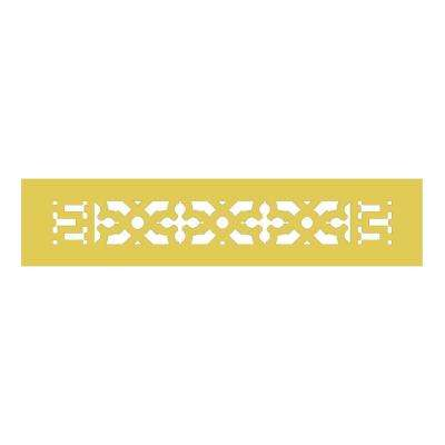 Scroll Series 14 in. x 2-1/4 in. Brass Grille, Brass without Mounting Holes