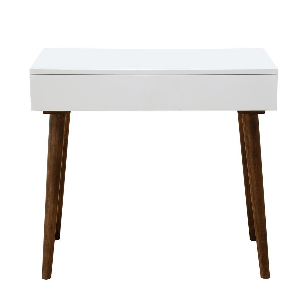 Mid-Century White Modern Mini Desk
