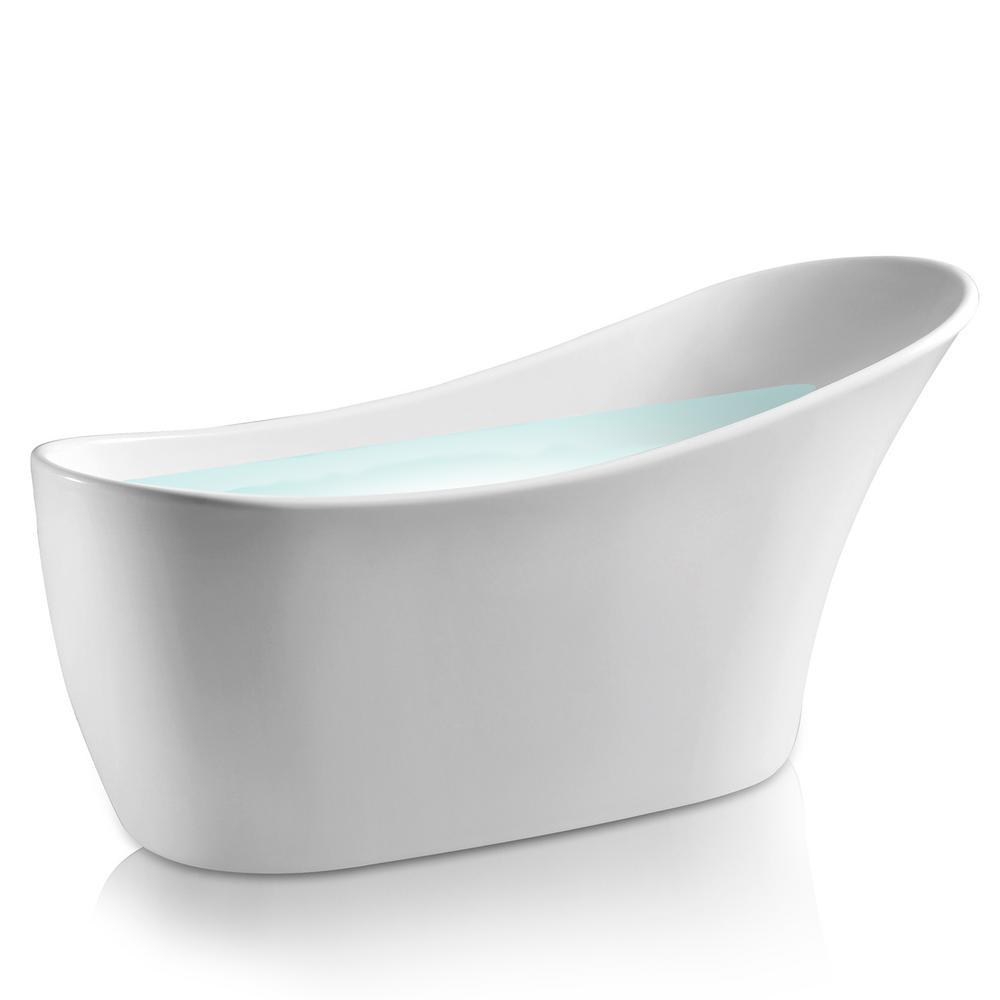 AKDY 59 in. Acrylic Single Slipper Flatbottom Non-Whirlpool Bathtub in Glossy White was $1049.0 now $649.99 (38.0% off)