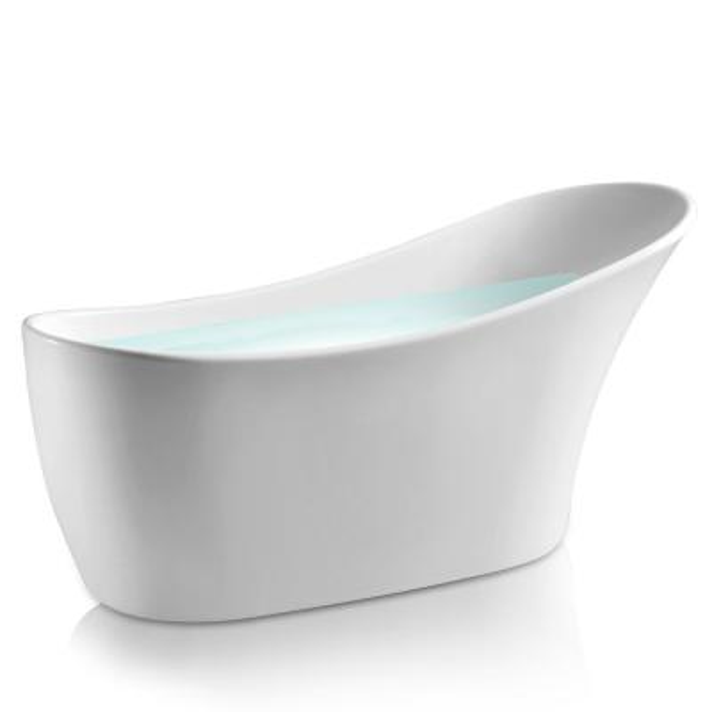 59 in. Acrylic Single Slipper Flatbottom Non-Whirlpool Bathtub in Glossy White