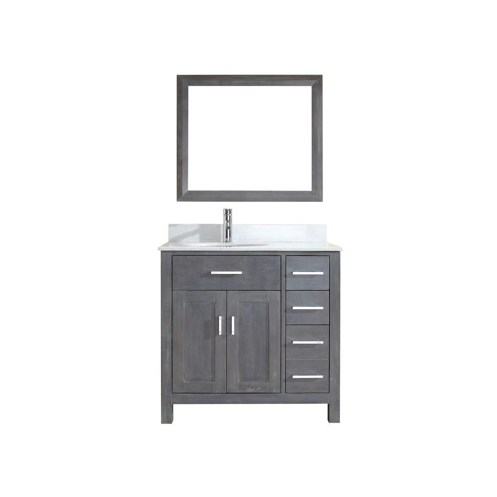 ART BATHE Kalize 36 in. Vanity in French Gray with Solid Surface Marble Vanity Top in Carrara White and Mirror