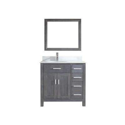 Kalize 36 in. Vanity in French Gray with Solid Surface Marble Vanity Top in Carrara White and Mirror