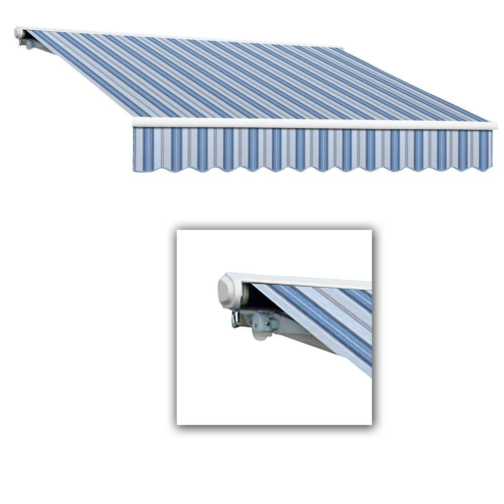 AWNTECH 14 ft. Galveston Semi-Cassette Right Motor with Remote Retractable Awning (120 in. Projection) in Blue Multi
