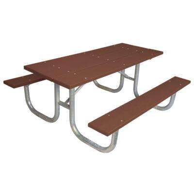 6 ft. Brown Commercial Park Recycled Plastic Table- Portable and/or Surface Mount