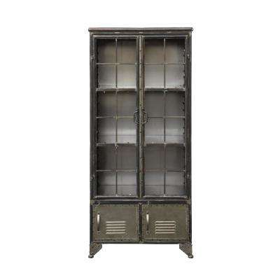 Distressed Black Metal Cabinet