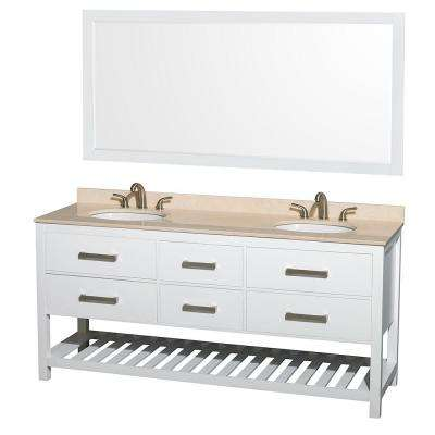 Natalie 72 in. Double Vanity in White with Marble Vanity Top in Ivory, Under-Mount Oval Sinks and 70 in. Mirror
