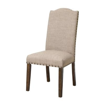 Pikes Brown Upholstered Nailhead Trim Dining Chair (Set of 2)